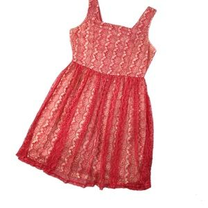 Umgee Coral Lace Sleeveless Square Neck Mini Dress